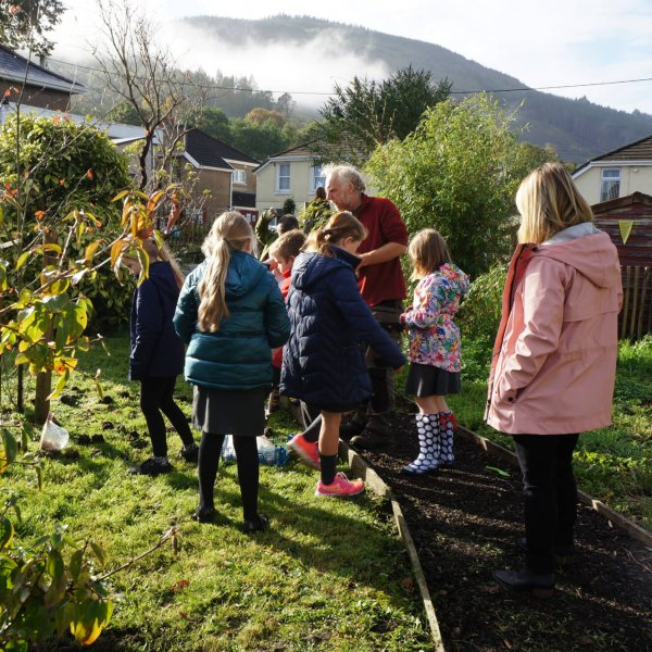 Planting bulbs at Blaengwrach School.